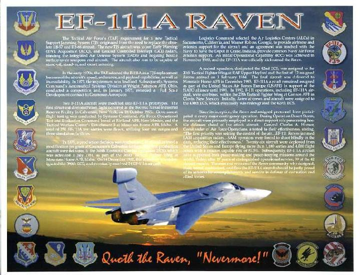 EF-111 RAVEN PHOTO WITH PATCHES OF ALL UNITS ASSOCIATED WITH THE RAVEN!